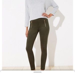 Loft skinny green pants with side zippers